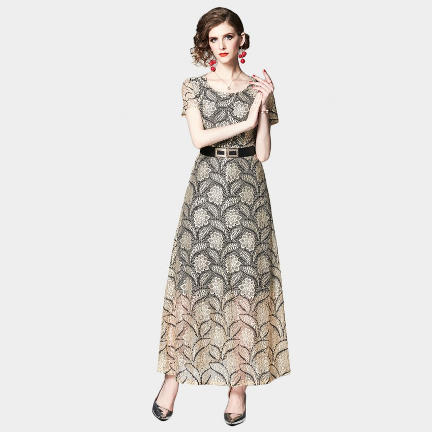 Buy OFYA Belted Lace Apricot Dress online, shop OFYA with free shipping