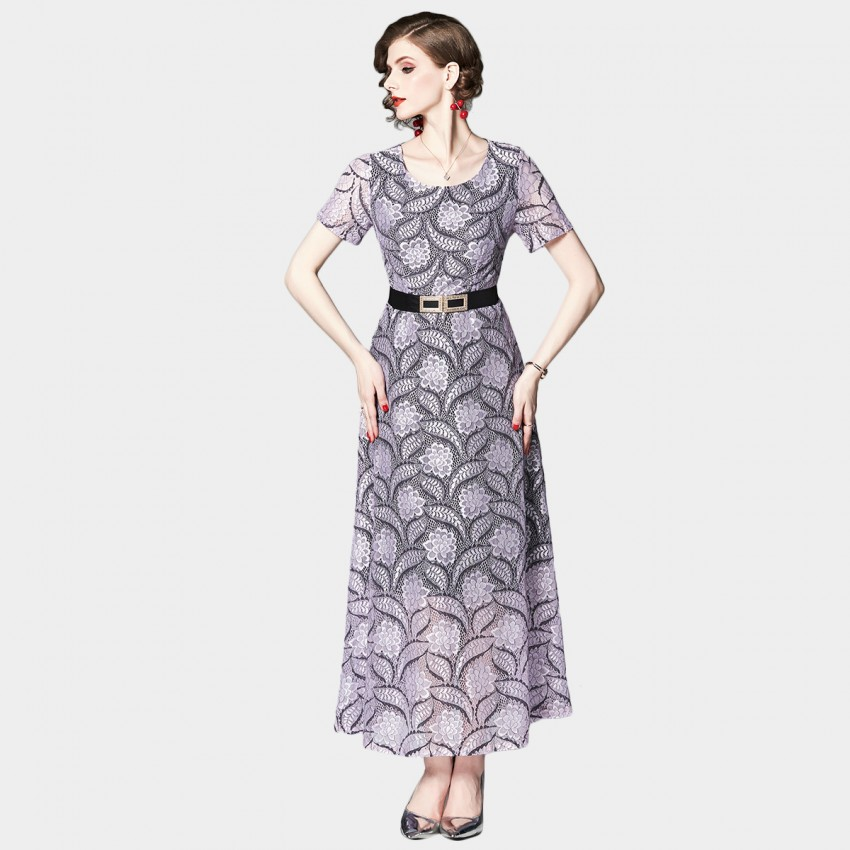 Buy OFYA Belted Lace Lavender Dress online, shop OFYA with free shipping