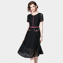 OFYA Front Pocket Black Lace Dress (8299)