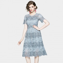 OFYA Scalloped Hem Pale Blue Lace Dress (8902)