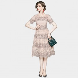 OFYA Scalloped Hem Pale Pink Lace Dress (8902)