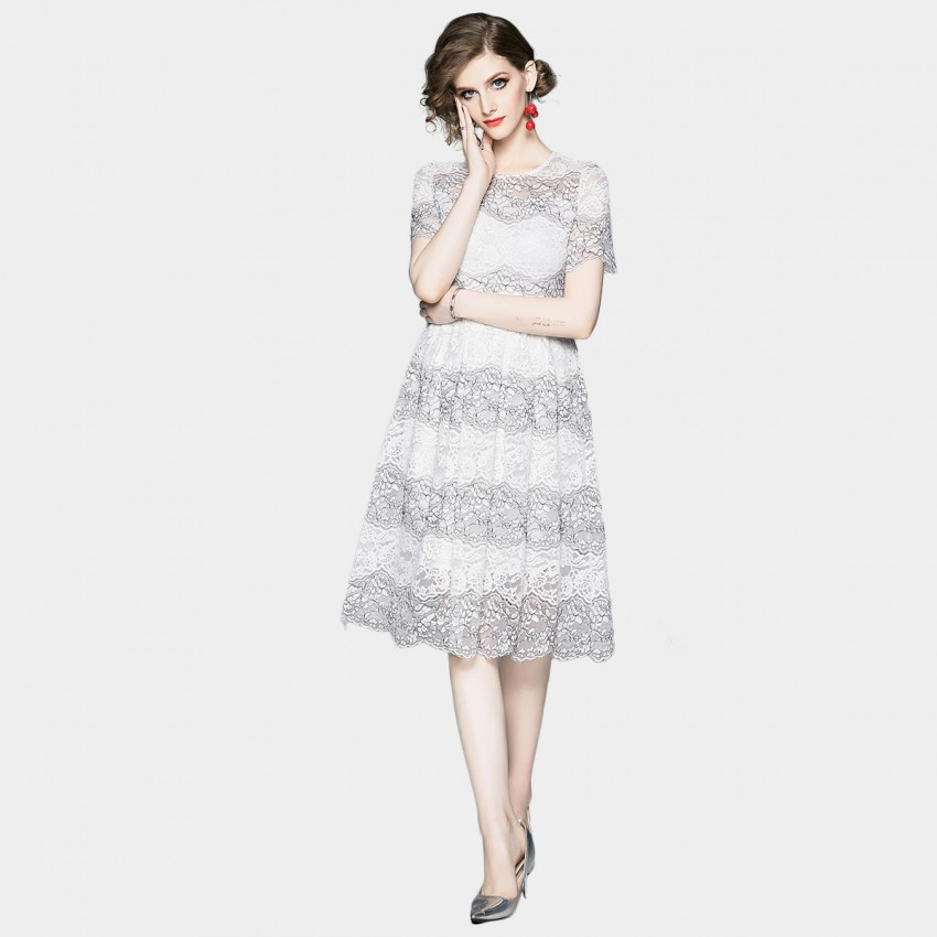 Buy OFYA Scalloped Hem Pale White Lace Dress online, shop OFYA with free shipping