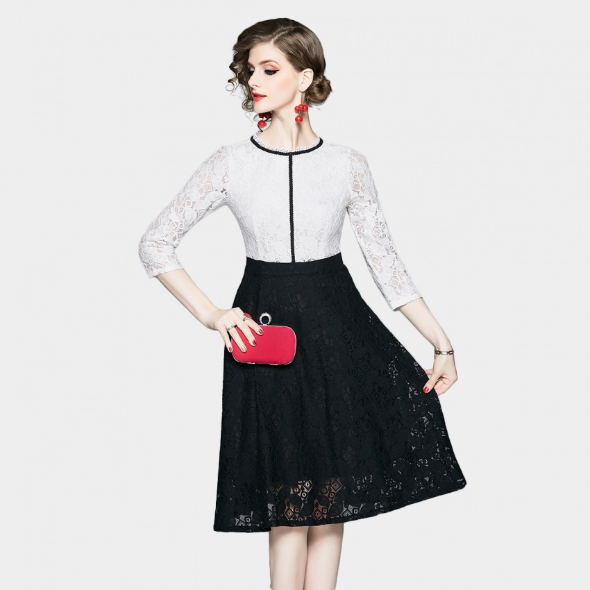 Buy OFYA Black & White Lace Contrast Dress online, shop OFYA with free shipping
