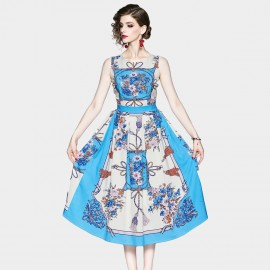 OFYA Floral Tassel Blue A-line Midi Dress (8904)
