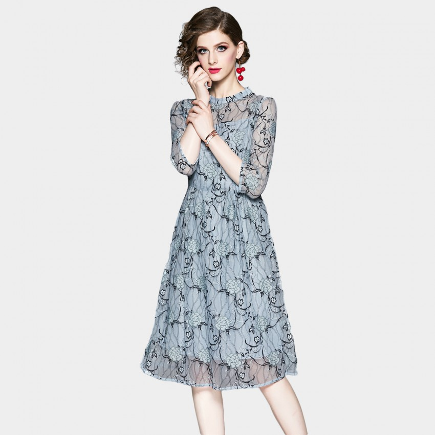 OFYA High Neck Blue Lace Midi Dress (8907)