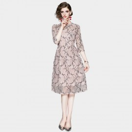 OFYA High Neck Pink Lace Midi Dress (8907)