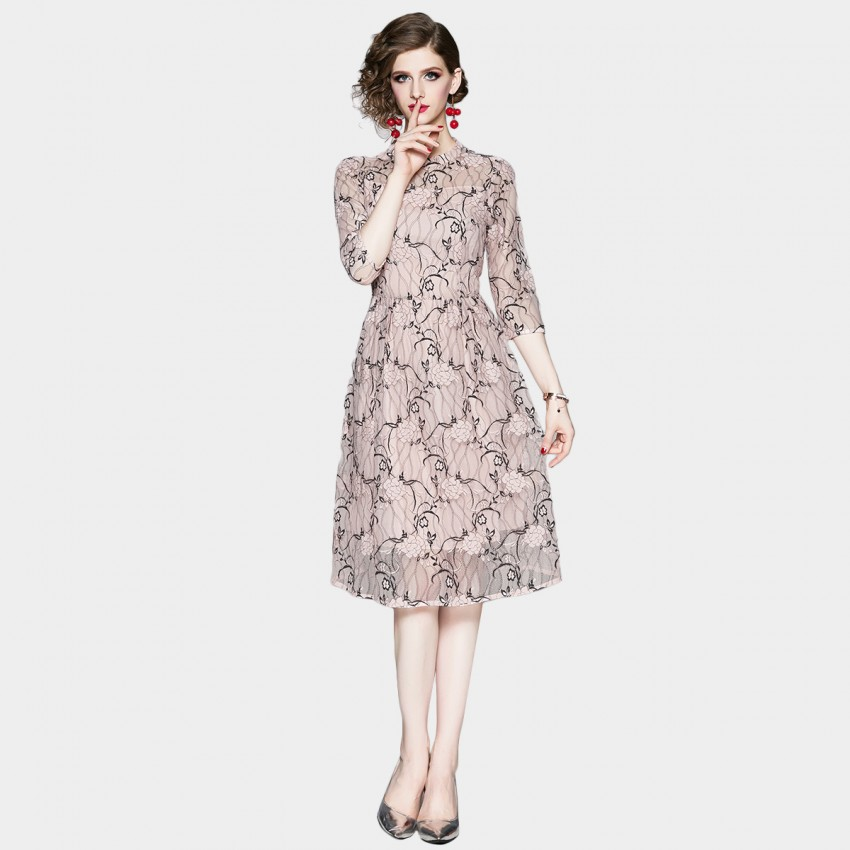 Buy OFYA High Neck Pink Lace Midi Dress online, shop OFYA with free shipping
