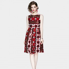 OFYA Bold Printed Red Midi Dress (8908)