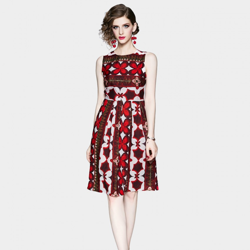 Buy OFYA Bold Printed Red Midi Dress online, shop OFYA with free shipping