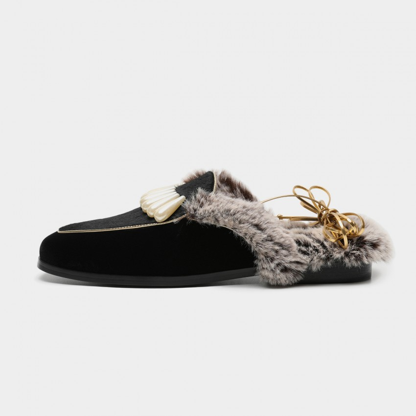 Buy Masoomake Embellished Furry Black Slippers online, shop Masoomake with free shipping