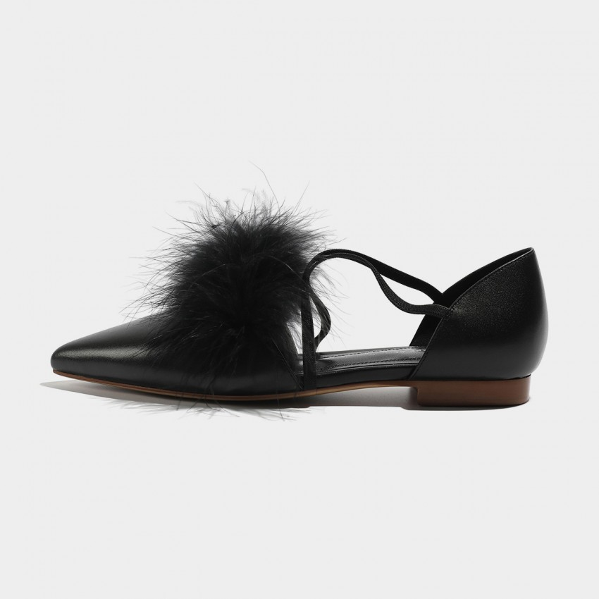 Buy Masoomake Pompom Tie Black Flats online, shop Masoomake with free shipping