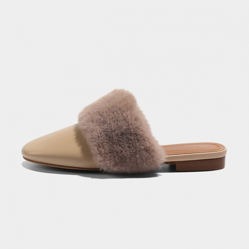 Buy Masoomake Furry Apricot Slippers online, shop Masoomake with free shipping