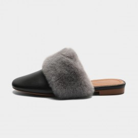 Masoomake Furry Black Slippers (FSD71827)