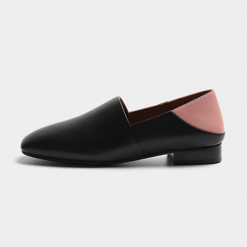 Buy Masoomake Two-Tone Leather Black Flats online, shop Masoomake with free shipping