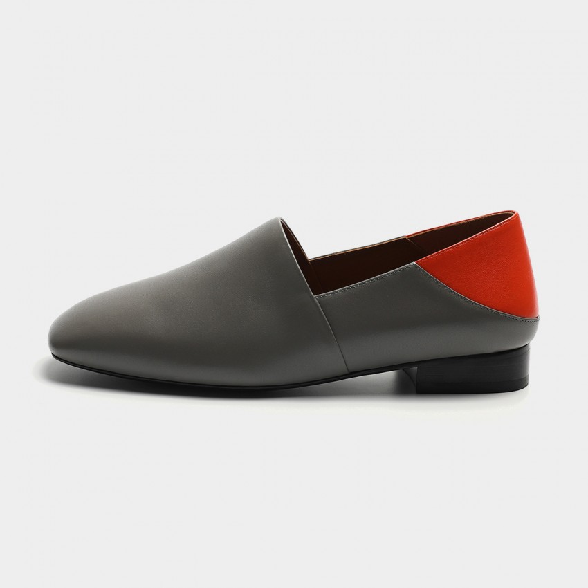 Buy Masoomake Two-Tone Leather Grey Flats online, shop Masoomake with free shipping