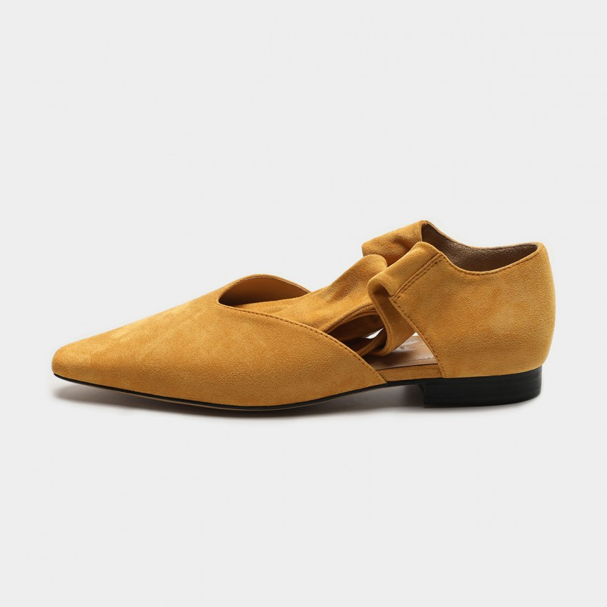 Buy Masoomake Ballerina Lace Up Yellow Flats online, shop Masoomake with free shipping