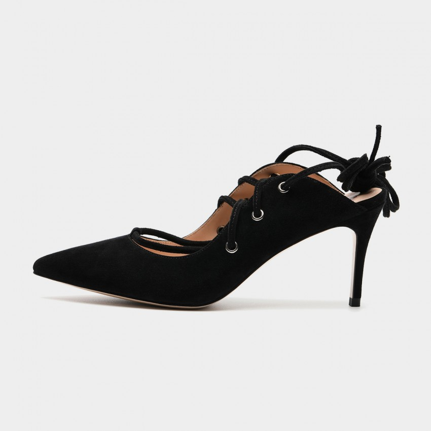 Masoomake Ballerina Knotted Black Pumps (FSD73391)