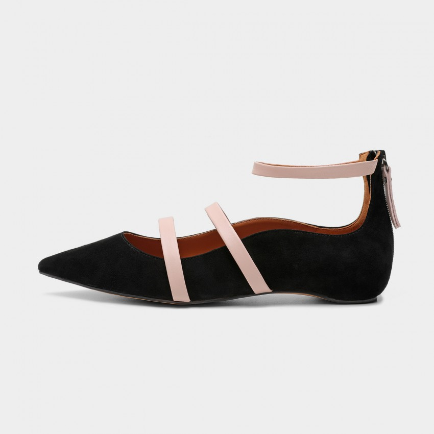 Buy Masoomake Multi-Tie Black Flats online, shop Masoomake with free shipping