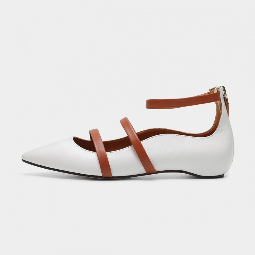 Buy Masoomake Multi-Tie White Flats online, shop Masoomake with free shipping