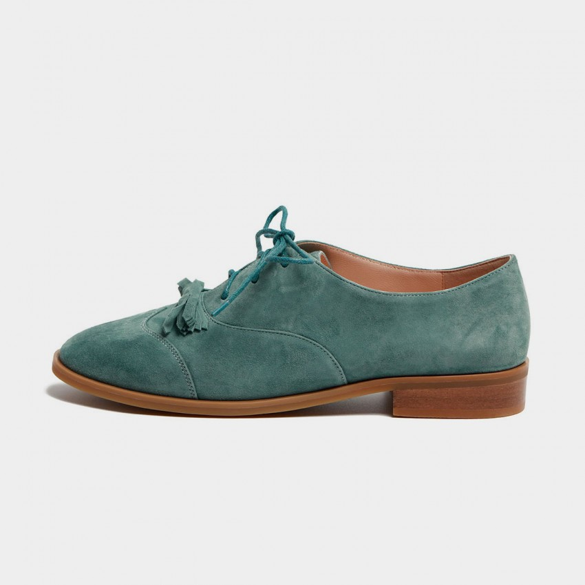 Buy Masoomake Ribbon Oxford Green Lace Ups online, shop Masoomake with free shipping