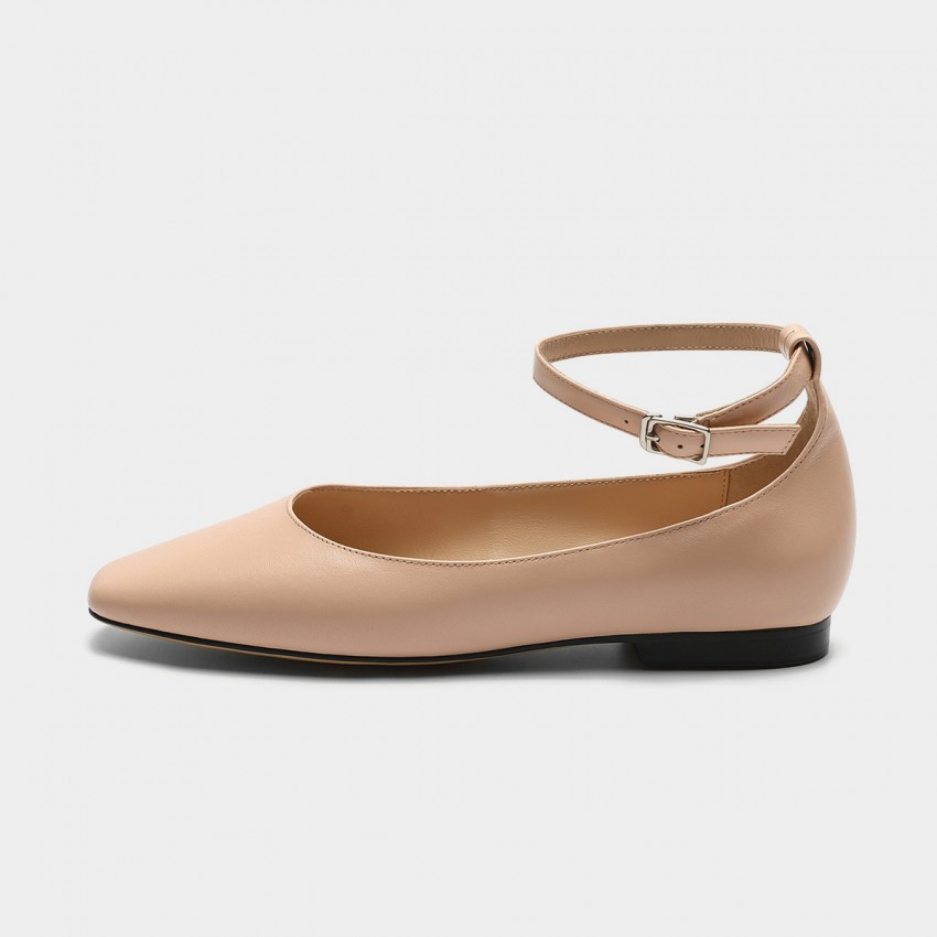 Masoomake Classy Ankle-Tie Nude Flats (FSD76333)