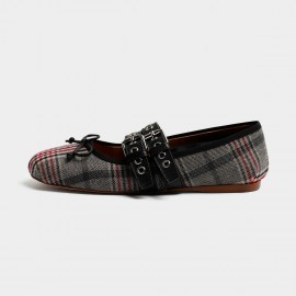 Masoomake Style Contrast Checked Red Flats (FSD76711)