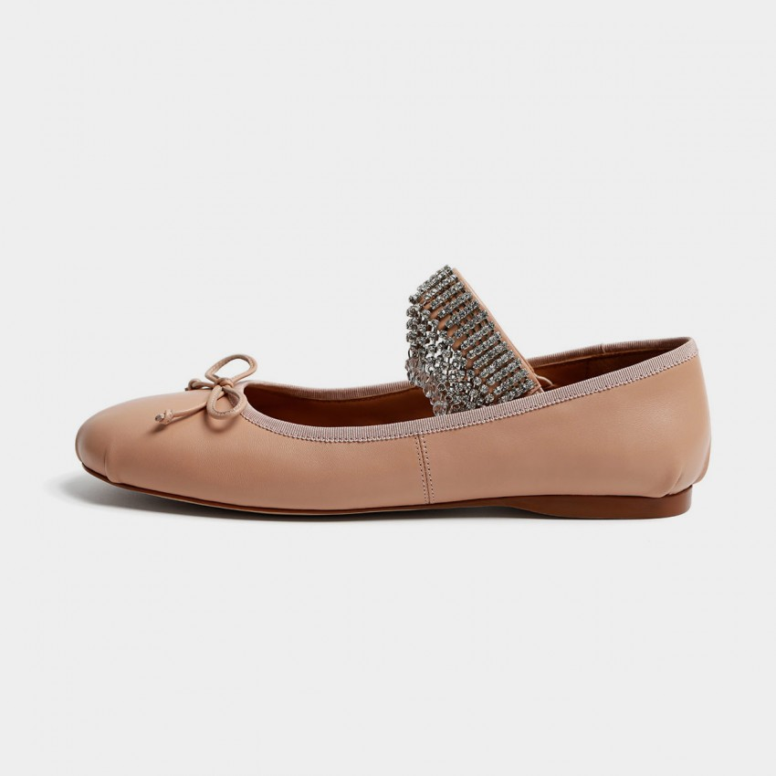 Buy Masoomake Jewelled Ballerina Apricot Flats online, shop Masoomake with free shipping