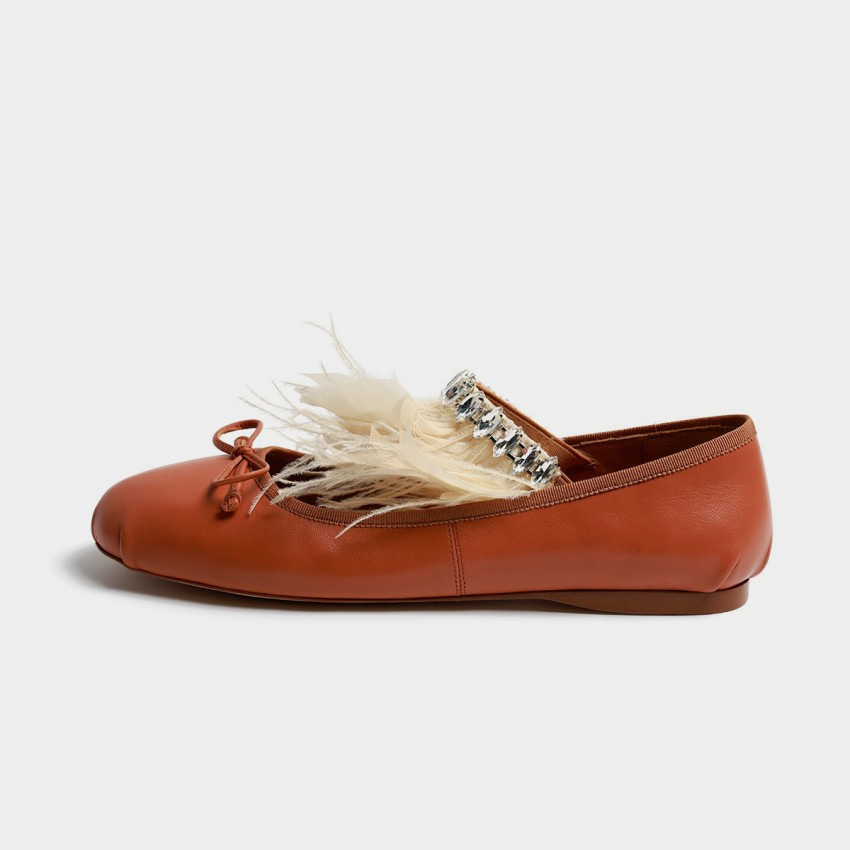 Buy Masoomake Furry Jewelled Brown Flats online, shop Masoomake with free shipping