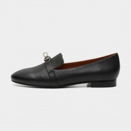 Masoomake Metallic Buckle Black Loafers (FSD7801)