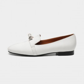 Masoomake Metallic Buckle White Loafers (FSD7801)