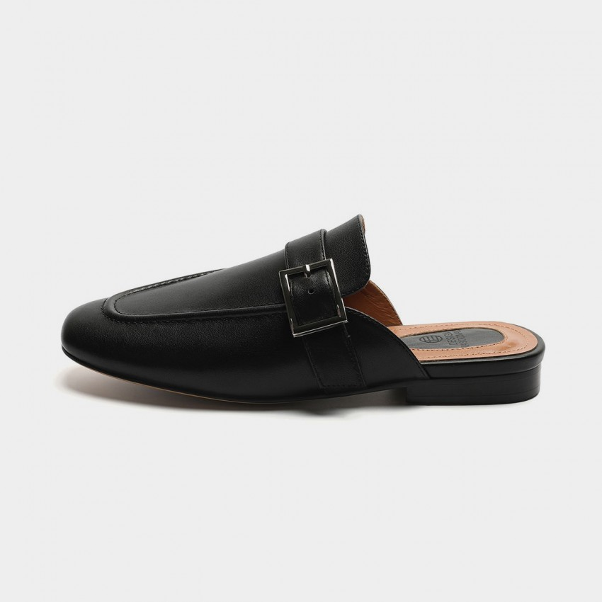 Buy Masoomake Buckle Black Slippers online, shop Masoomake with free shipping