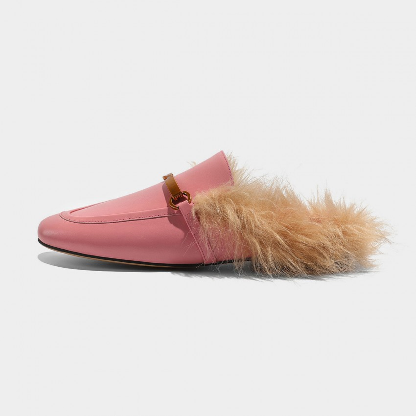 Buy Masoomake Furry Knotted Pink Slippers online, shop Masoomake with free shipping