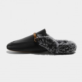 Masoomake Furry Knotted Black Slippers (FSD78116B)