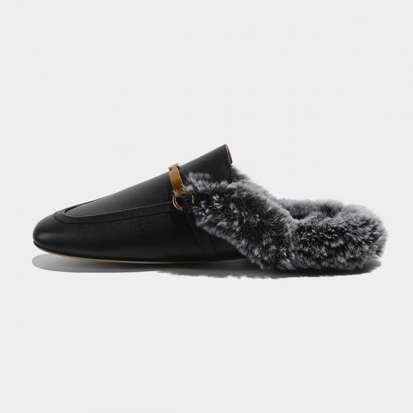 Buy Masoomake Furry Knotted Black Slippers online, shop Masoomake with free shipping
