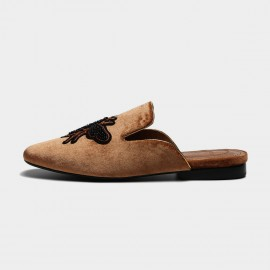 Masoomake Embroidered Bee Velvet Brown Slippers (FSL65930)