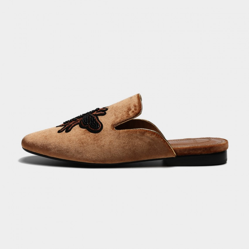 Buy Masoomake Embroidered Bee Velvet Brown Slippers online, shop Masoomake with free shipping