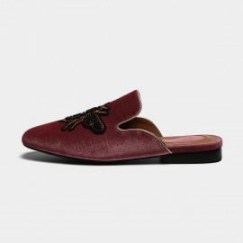 Masoomake Embroidered Bee Velvet Wine Slippers (FSL65930)