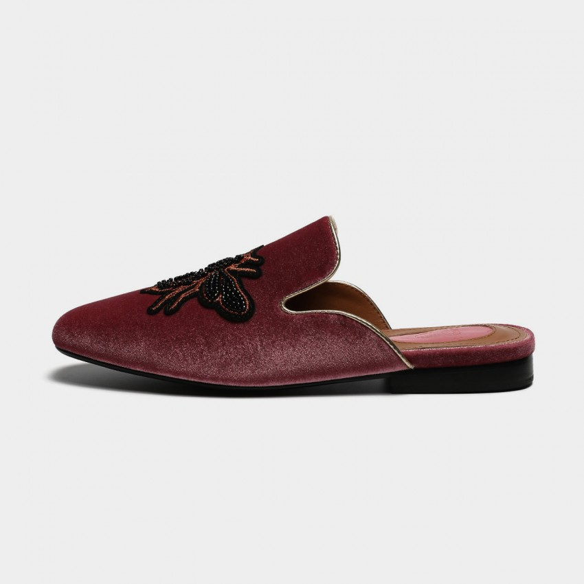 Buy Masoomake Embroidered Bee Velvet Wine Slippers online, shop Masoomake with free shipping