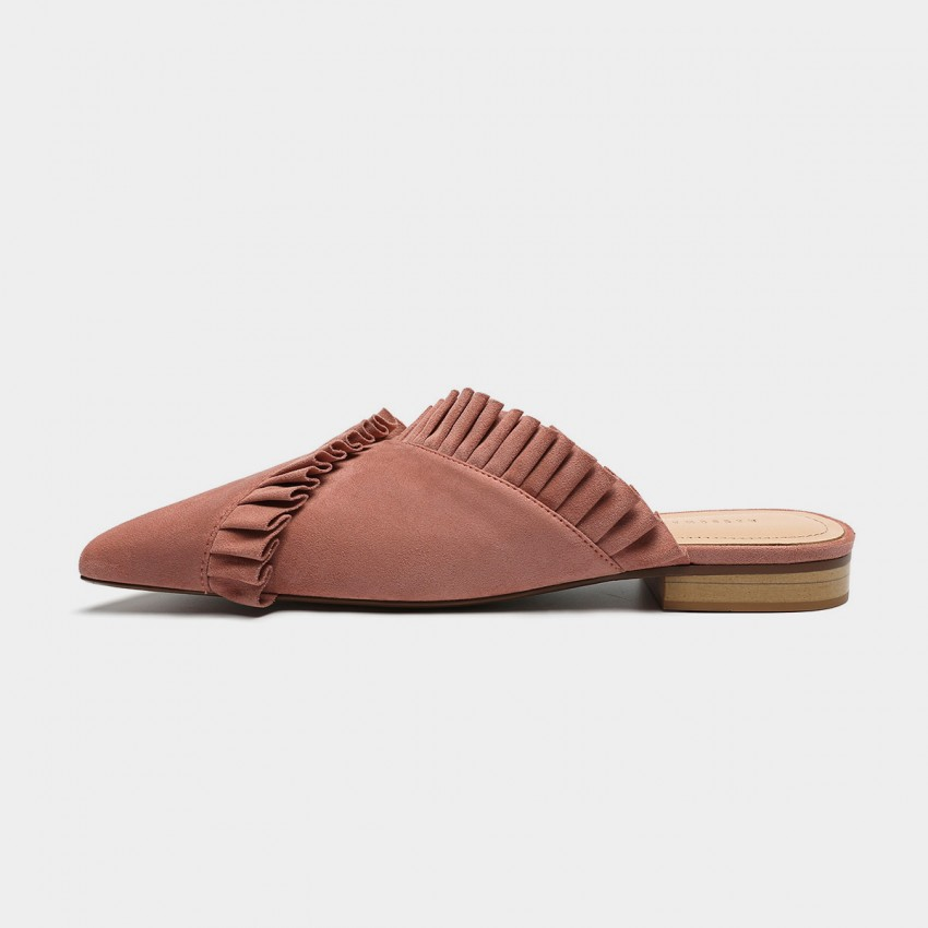 Buy Masoomake Contemporary Ruffle Redbean Slippers online, shop Masoomake with free shipping