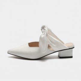 Masoomake Satin Tie White Sandals (FSL66696)