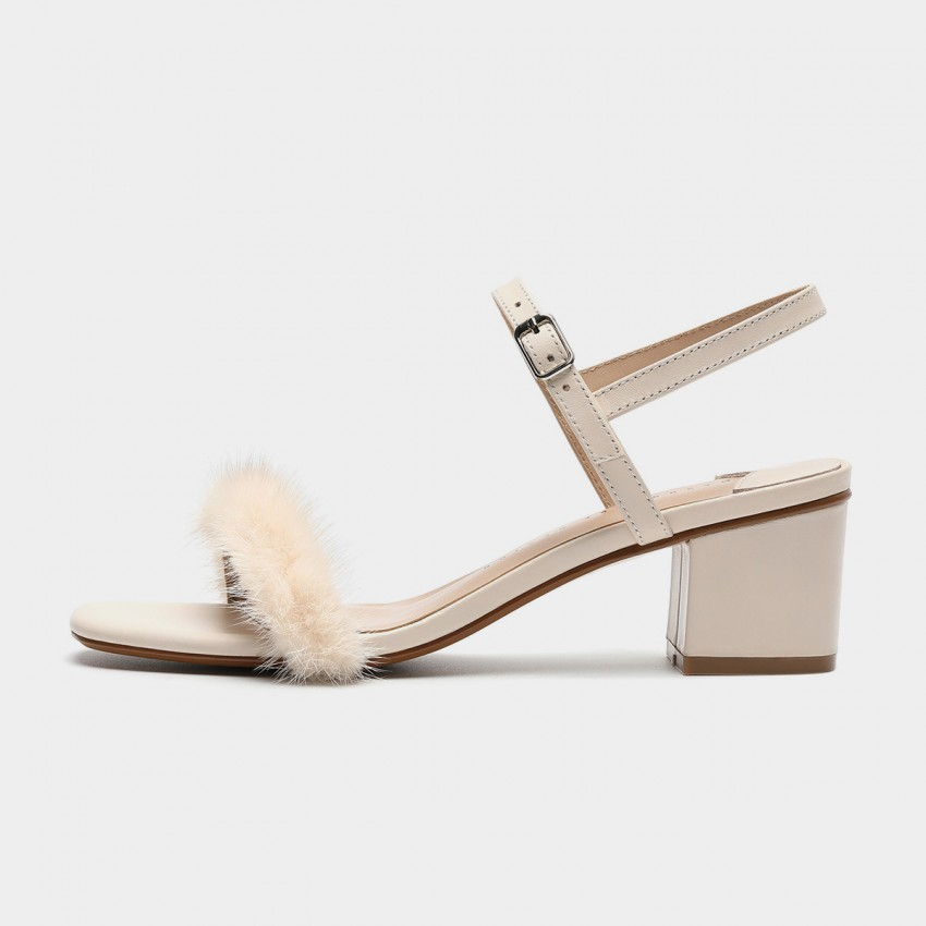Buy Masoomake Furry Ankle-Tie Ivory Sandals online, shop Masoomake with free shipping
