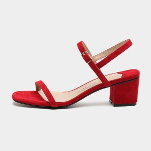Masoomake Strappy Suede Red Sandals (FSL68255)
