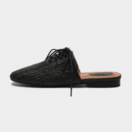 Masoomake Ribbon Woven Black Slippers (FSL68277)