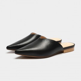 Masoomake Round Pointed Black Slippers (FSL69508)