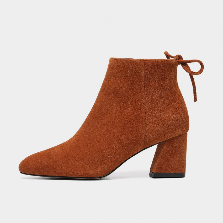 Buy Masoomake Wide Heel Brown Boots online, shop Masoomake with free shipping