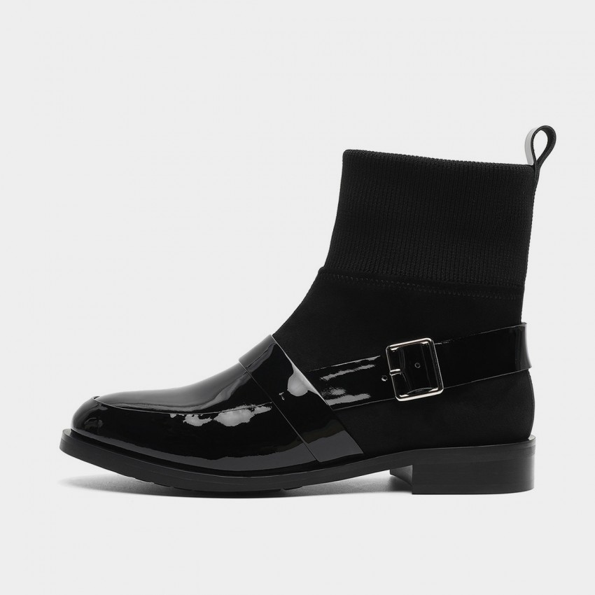 Buy Masoomake Buckle Shimmery Black Boots online, shop Masoomake with free shipping
