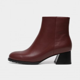 Masoomake Wide Heel Ankle Brown Boots (FSX8501)