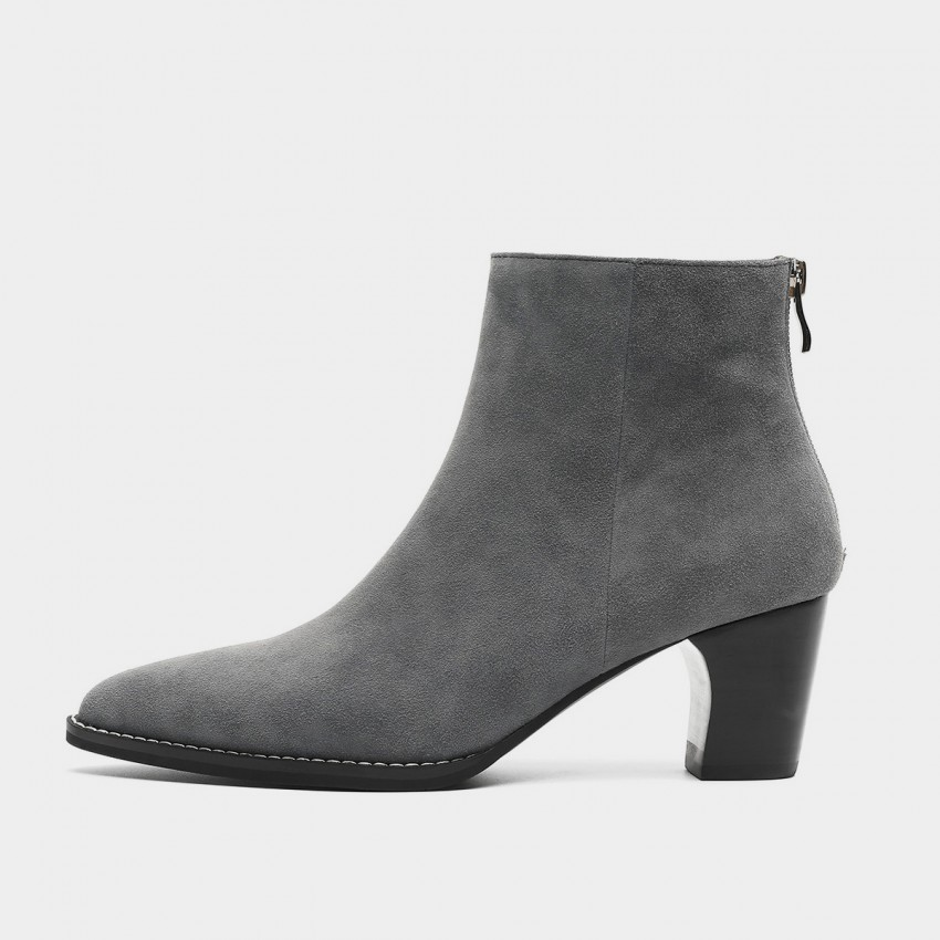 Buy Masoomake Heeled Suede Grey Boots online, shop Masoomake with free shipping