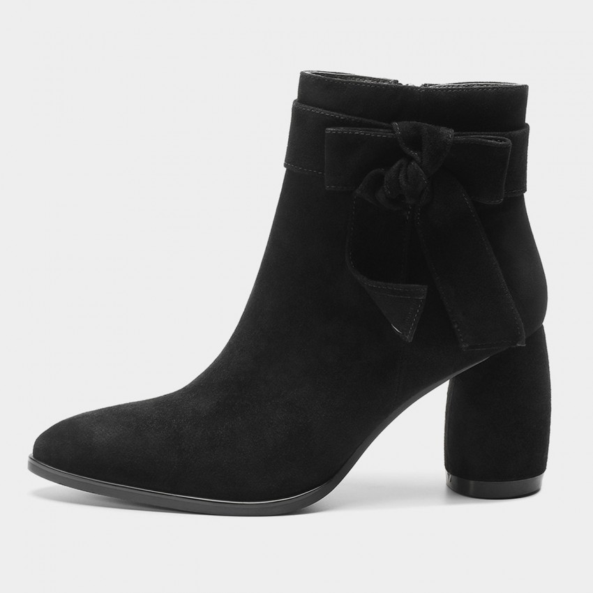 Buy Masoomake Ribbon Suede Black Boots online, shop Masoomake with free shipping