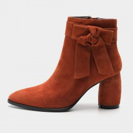 Masoomake Ribbon Suede Brown Boots (FSX86608)